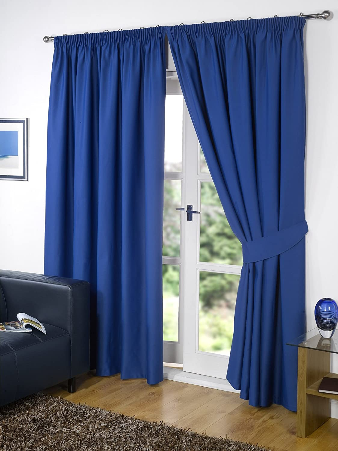Cobalt blue curtains - Pair Of Blue 90 Width X 54 Drop Supersoft Thermal Blackout Curtains Bedroom Curtain Readymade Including Pair Of Matching Tie Backs Winter Warm But