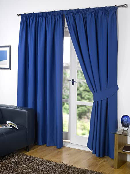 Pair Of BLUE 90u0026quot; Width X 54u0026quot; Drop , Supersoft Thermal BLACKOUT  Curtains Bedroom