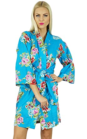 8b33ef7c44 Image Unavailable. Image not available for. Colour  Bimba Women Short  Cotton Robe Bridesmaid Getting Ready Wrap Cover Up