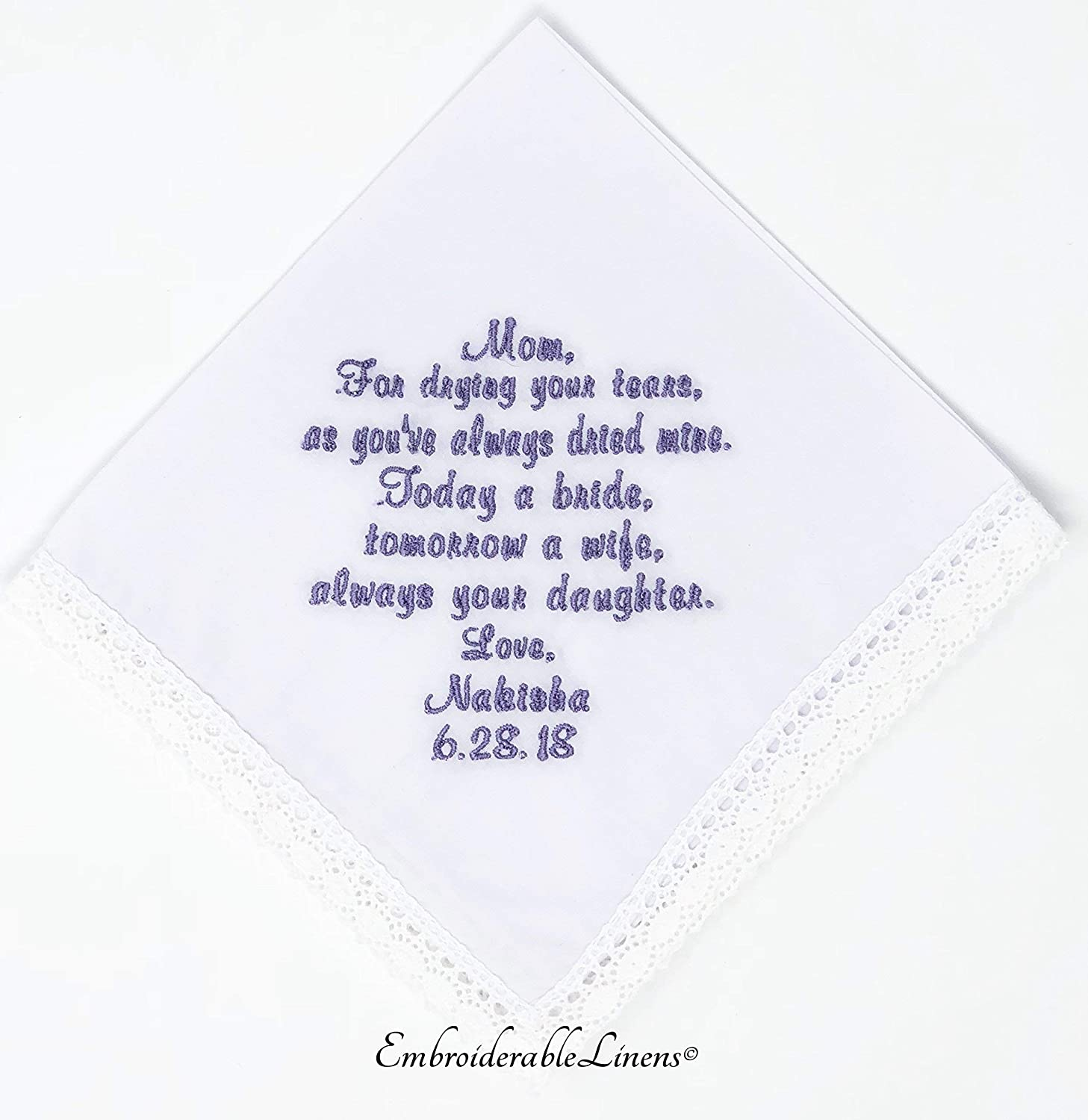 Mother Of The Bride Wedding Handkerchief By EmbroiderabeLinens©