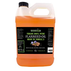 GreenIVe Flax Seed Oil 100% Pure Cold Pressed High Omegas Exclusively on Amazon (128 Fl Oz (1 Gallon))
