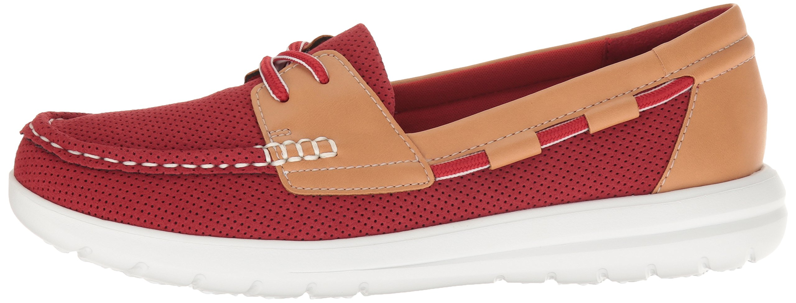 CLARKS Women's Jocolin Vista Boat Shoe, Red Perforated Microfiber, 12 B(M) US by CLARKS (Image #5)
