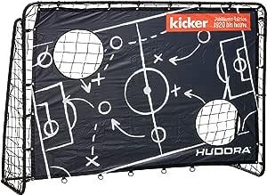 Hudora - Portería de fútbol para niños y Adultos, edición de Entrenamiento, para jardín, con Pared de portería en diseño Exclusivo de futbolín, Color Negro, 213 x 152 x 76 cm: Amazon.es:
