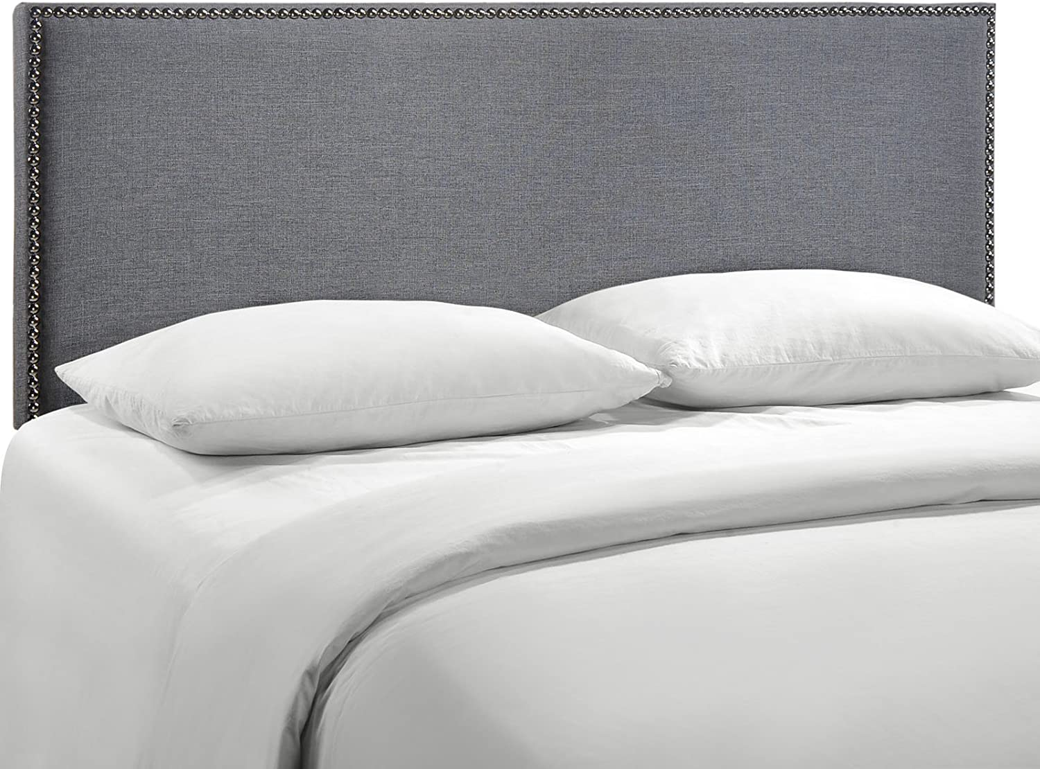 Modway Region Linen Fabric Upholstered Queen Headboard in Smoke with Nailhead Trim