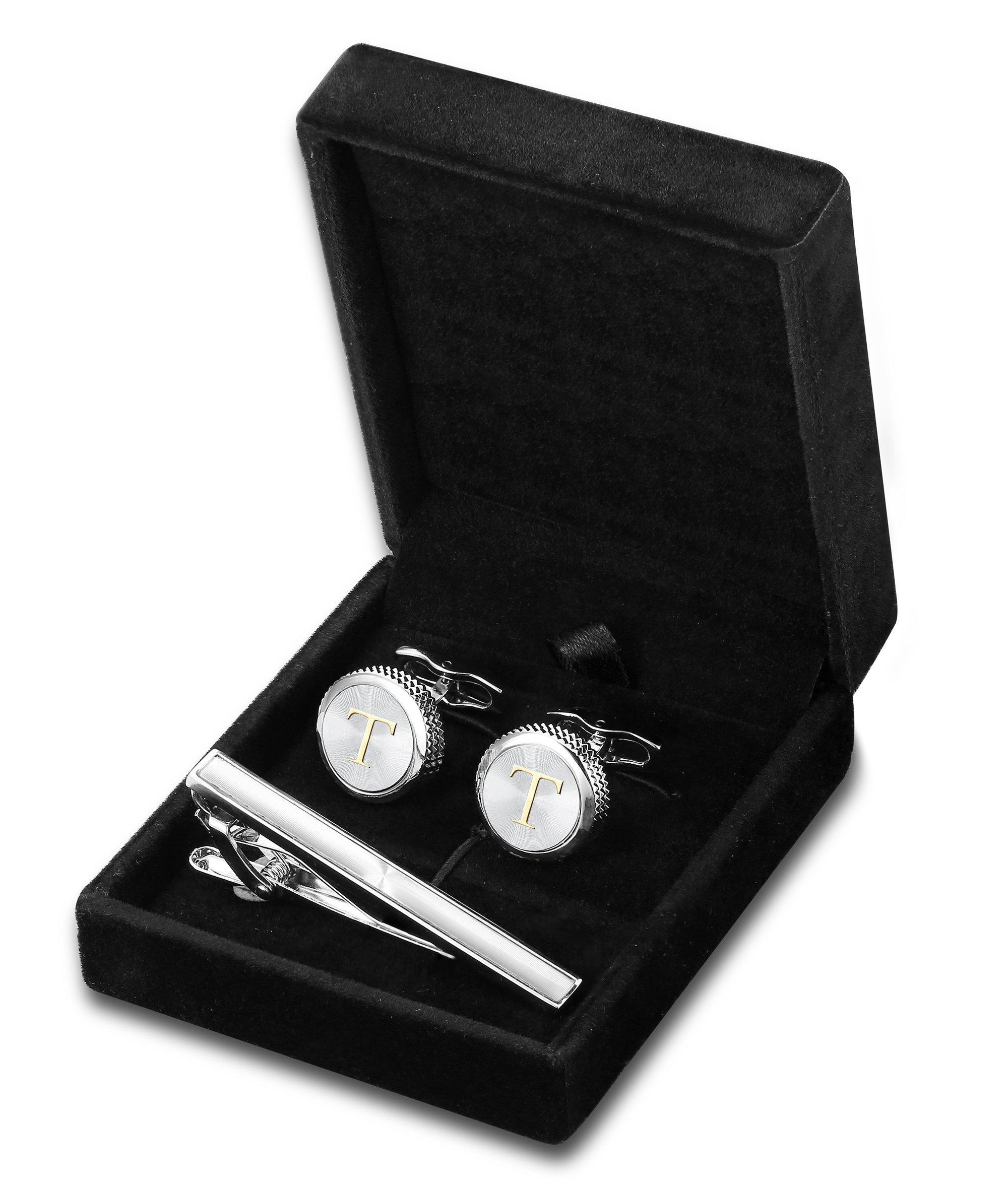 FIBO STEEL Personalized Initial Cufflinks Tie Clips Set for Men Gifts Custom Letter Wedding Cufflinks Case T