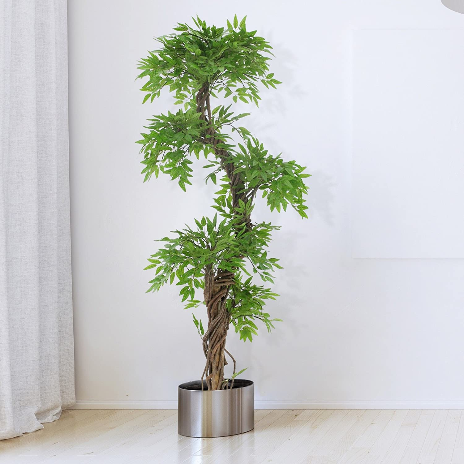 Amazoncom Tall Modern Artificial Tree Plant With Artificial Leaves And