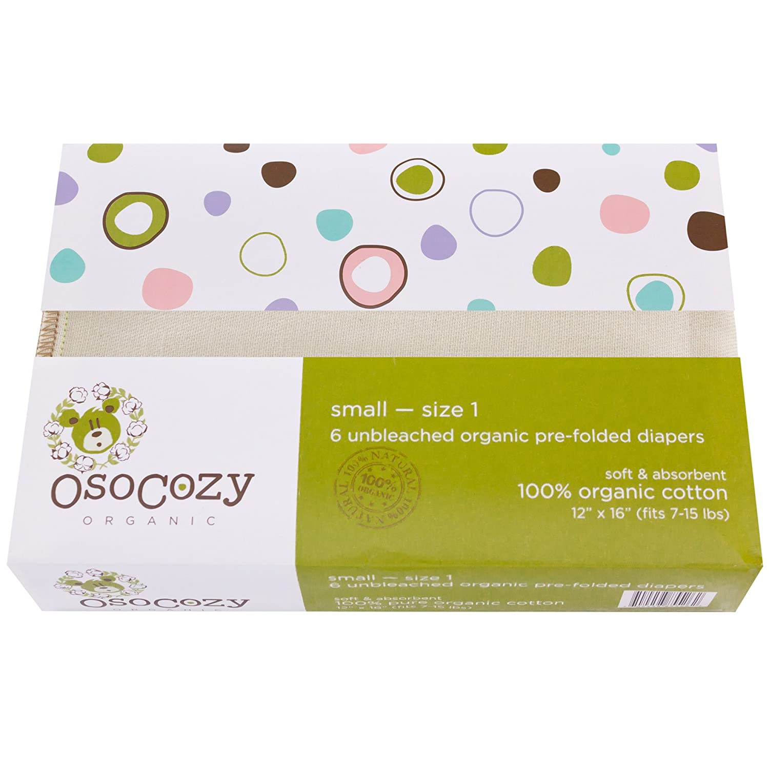 OsoCozy Organic Cotton Prefolds Traditional Fit Small 4x8x4 (6pk) - Fits 7-15 lbs