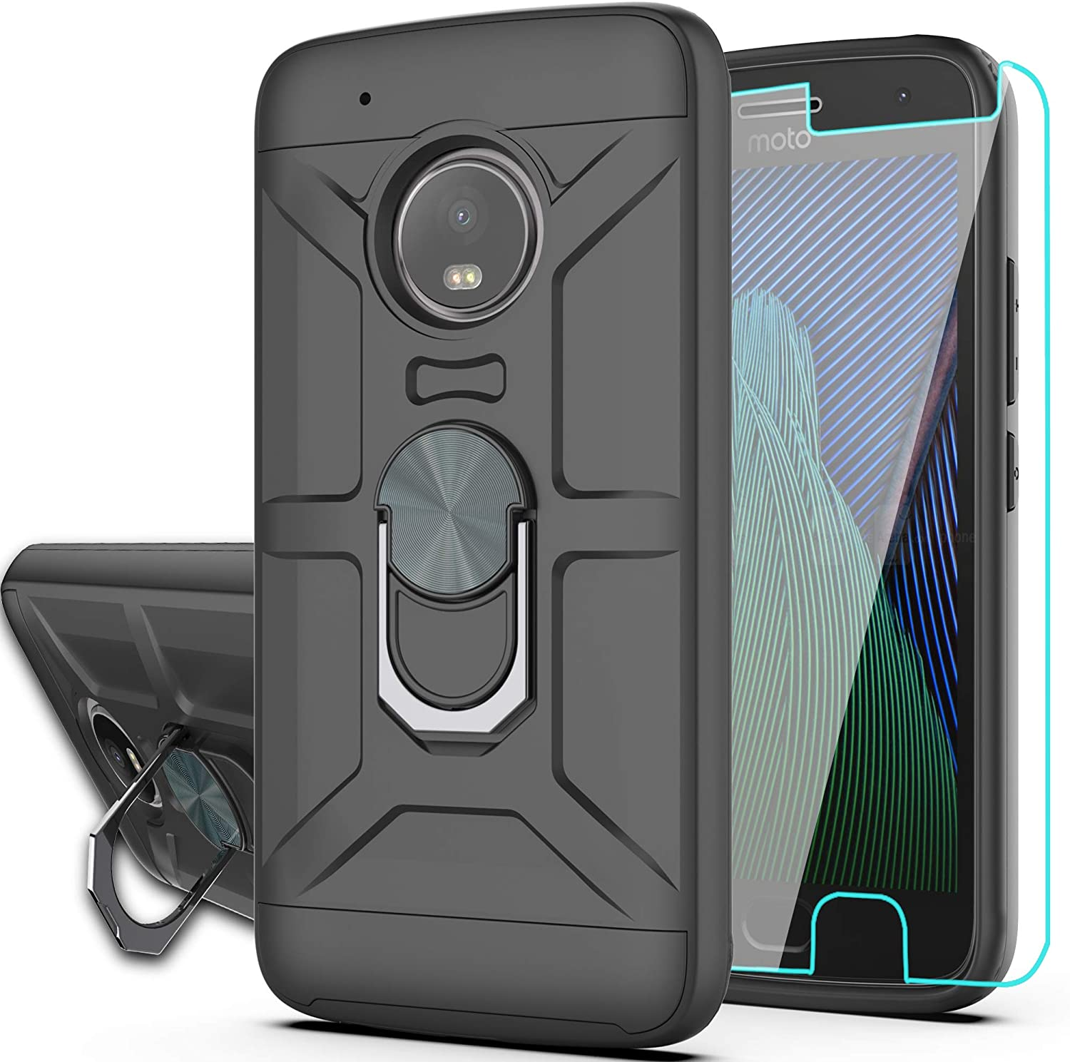 Moto G5 Plus Case,Moto G Plus 5th Case with HD Phone Screen Protector,YmhxcY 360 Degree Rotating Ring & Bracket Dual Layer Resistant Back Cover for Moto X 2017-ZH (ZS-Moto G5 Plus-Black)
