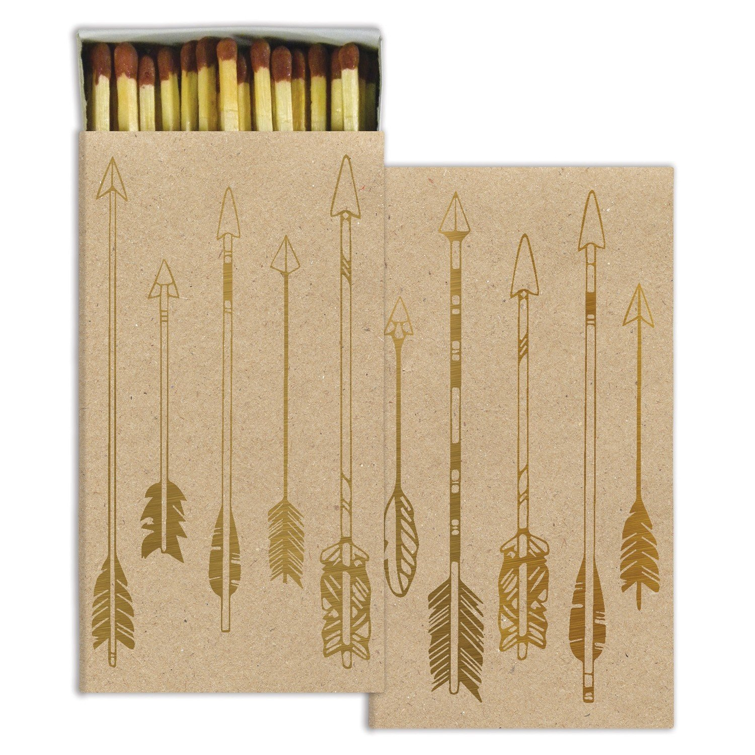 Gold Arrows Retro Matches | 10 Boxes Natural Brown
