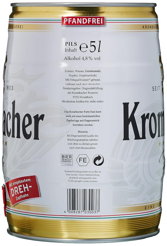 Krombacher Pils 5 Liter Fass Amazonde Bier Wein Spirituosen
