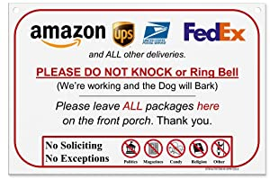 Leave Package Sign - Do Not Knock or Ring Bell (Dog will Bark - Hang sign)