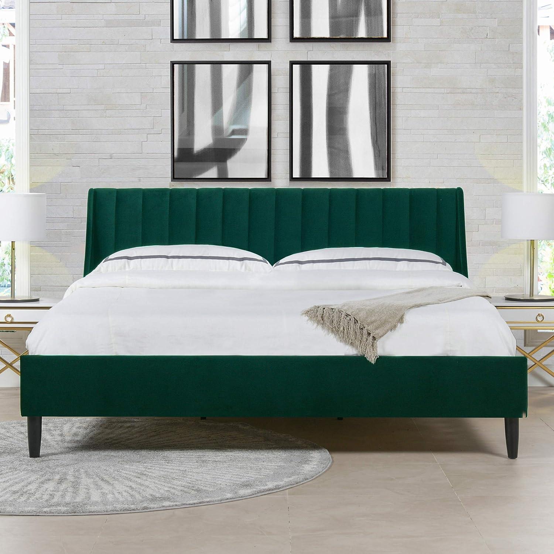 Sandy Wilson Home Marlowe Vertical Tufted Headboard Platform Bed Set, California King, Evergreen Velvet
