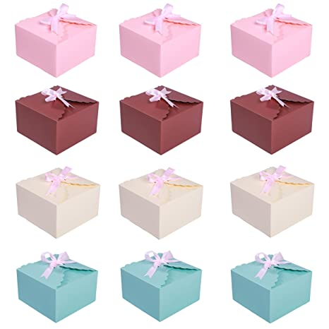 Missshorthair Gift Boxes 12 Pack Solid Color Decorative Boxes For Small Gifts Favor Boxes For Christmas Wedding Birthday Party Holidays