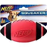 Nerf Dog Squeak Rubber Football Dog Toy, Medium/Large, Red