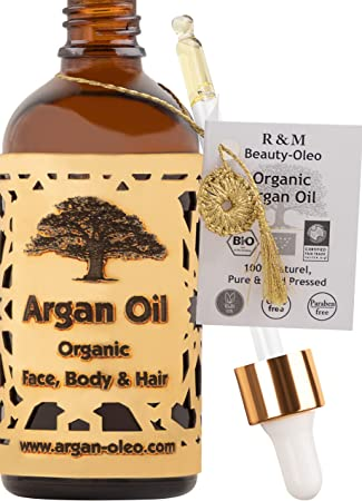 R&M Beauty-Oleo - Aceite de Argán orgánico prensado en frío. Aceite marroquí de comercio justo para cabello, cara, uñas, labios, cicatrices y espinillas. Botella con cuentagotas (100ml)