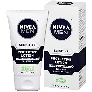 NIVEA Men Sensitive Protective Lotion - Moisturize With Broad Spectrum SPF 15 - 2.5 fl. oz. Bottle (Pack of 3)