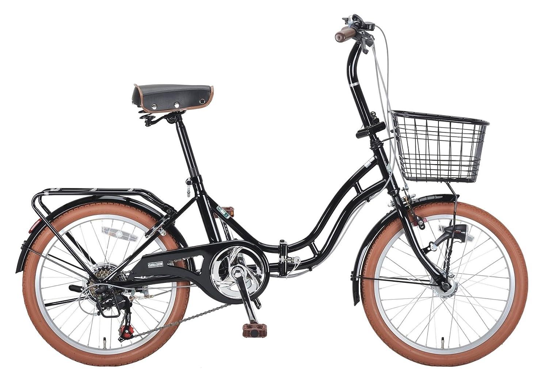 キャプテンスタッグ(CAPTAIN STAG) バレイ 20インチ 折りたたみ自転車 FDB206 [ シマノ6段変速 / LEDオートライト / サークル錠 / リアキャリア / 前後泥よけ / BAA ]標準装備 B00I8HXPJU ブラック ブラック