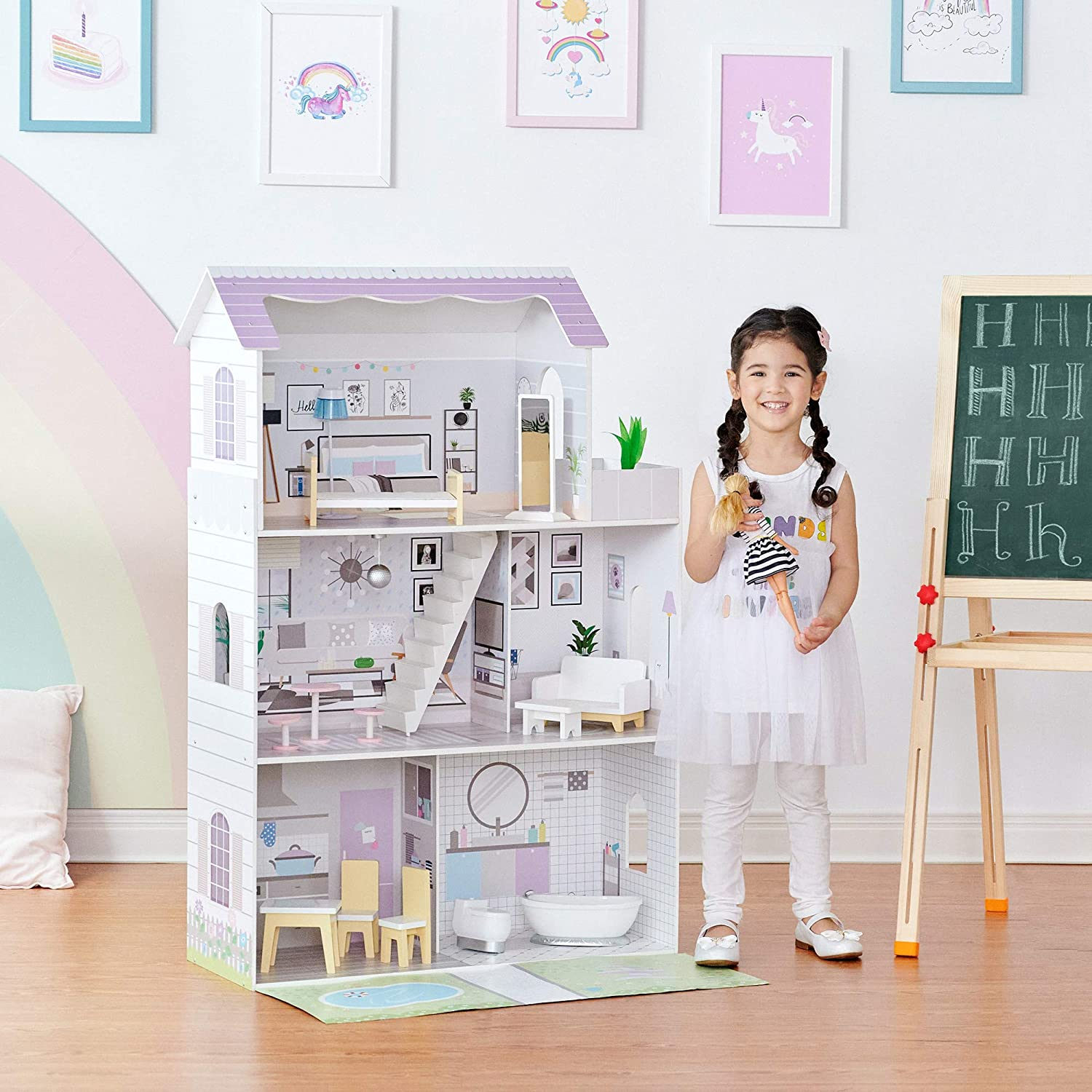 """Teamson Kids TD-12383E Grand 12"""" Dollhouse with Front Garden"""