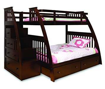 Amazon Com Canwood Ridgeline Bunk Bed With Built In Stairs Drawers