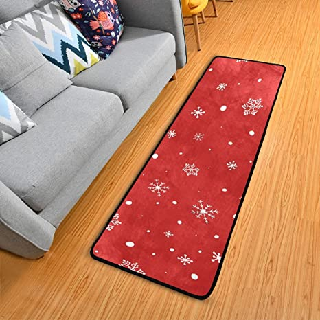 Amazon Com Christmas Runner Rug 2x6 For Kitchen Long Floor Rugs Mats Hallway Bedroom No Slip Red White Snowflakes Dining