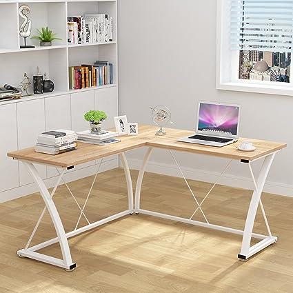 Decho Modern L Shaped Desk Corner Computer Desk PC Latop Study Table  Workstation Home Office