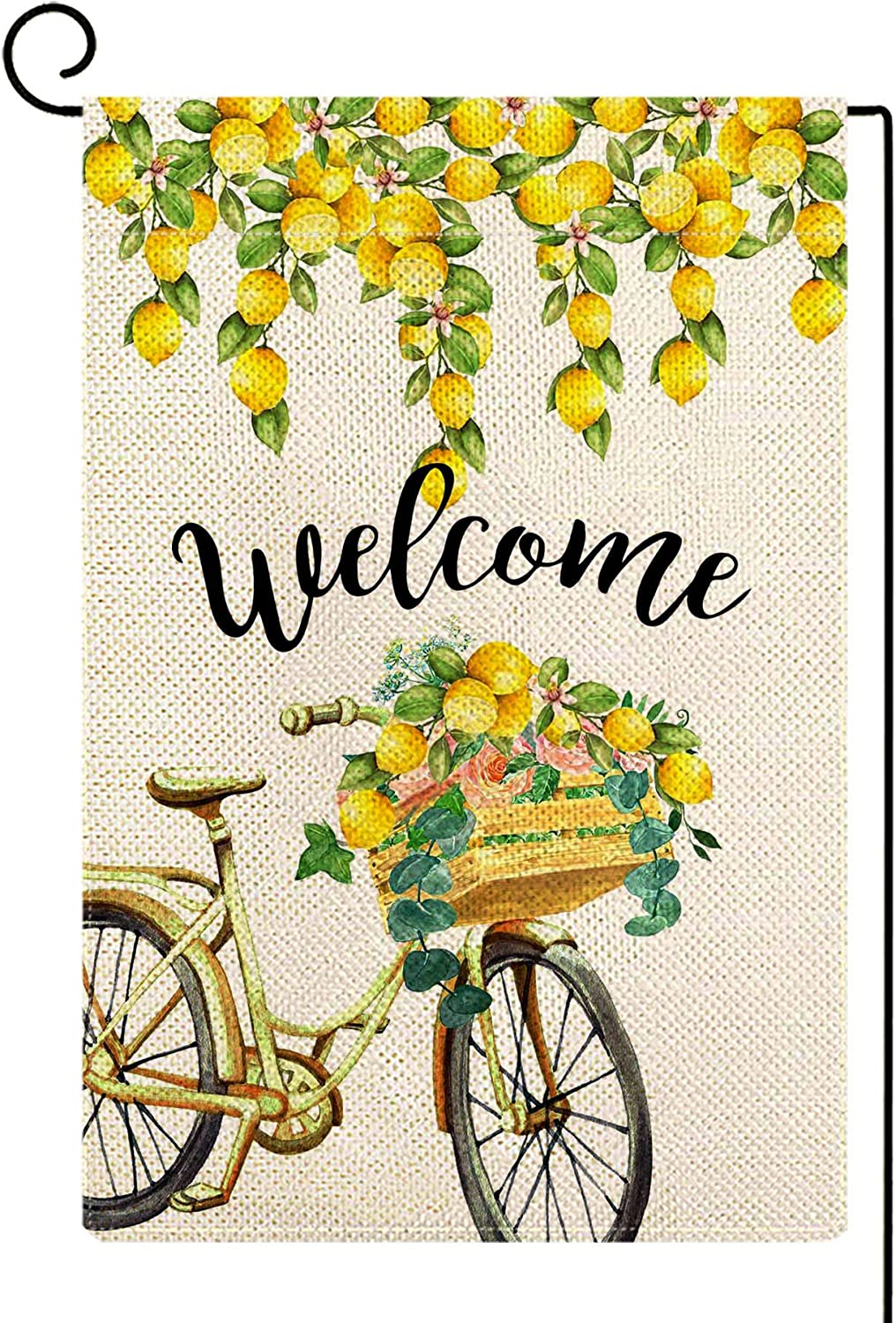 ORTIGIA Welcome Summer Bicycle Garden Flag 12x18 Double Sided,Summer Fruit Lemon Yard Flag for Outside,Summer Spring Farmhouse Seasonal Holiday Outdoor Decorations for Lawn Patio