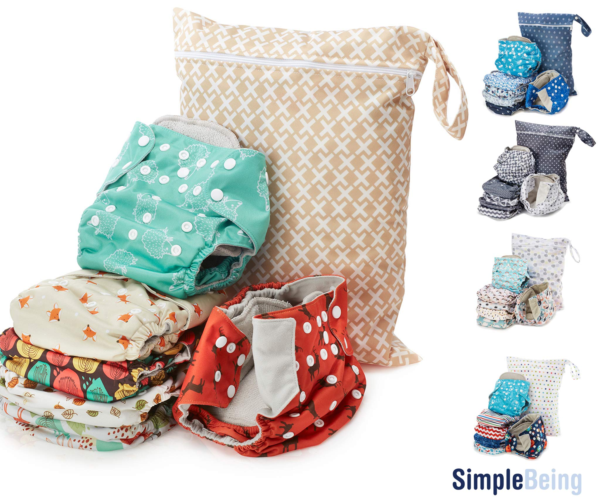 Simple Being Reusable Cloth Diapers, Double Gusset, One Size Adjustable, Washable Soft Absorbent, Waterproof Cover, Eco-Friendly Unisex Baby Girl Boy, with six 4-Layers Microfiber Inserts (Forest)