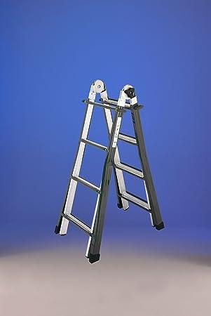 Escalera Telescópica MULTI-POSICIONES Mixta acero aluminio 18 peldaños (5 x 4) (5 + 4): Amazon.es: Bricolaje y herramientas