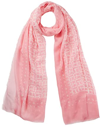 Tommy Hilfiger Th Monogram Scarf, Echarpe Femme, Rose (Orchid Pink-Bright  White 8113c4faed6