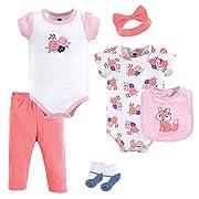Hudson Baby Unisex Baby Layette, Floral Fox, 6-Piece Set, 9-12 Months (12M)
