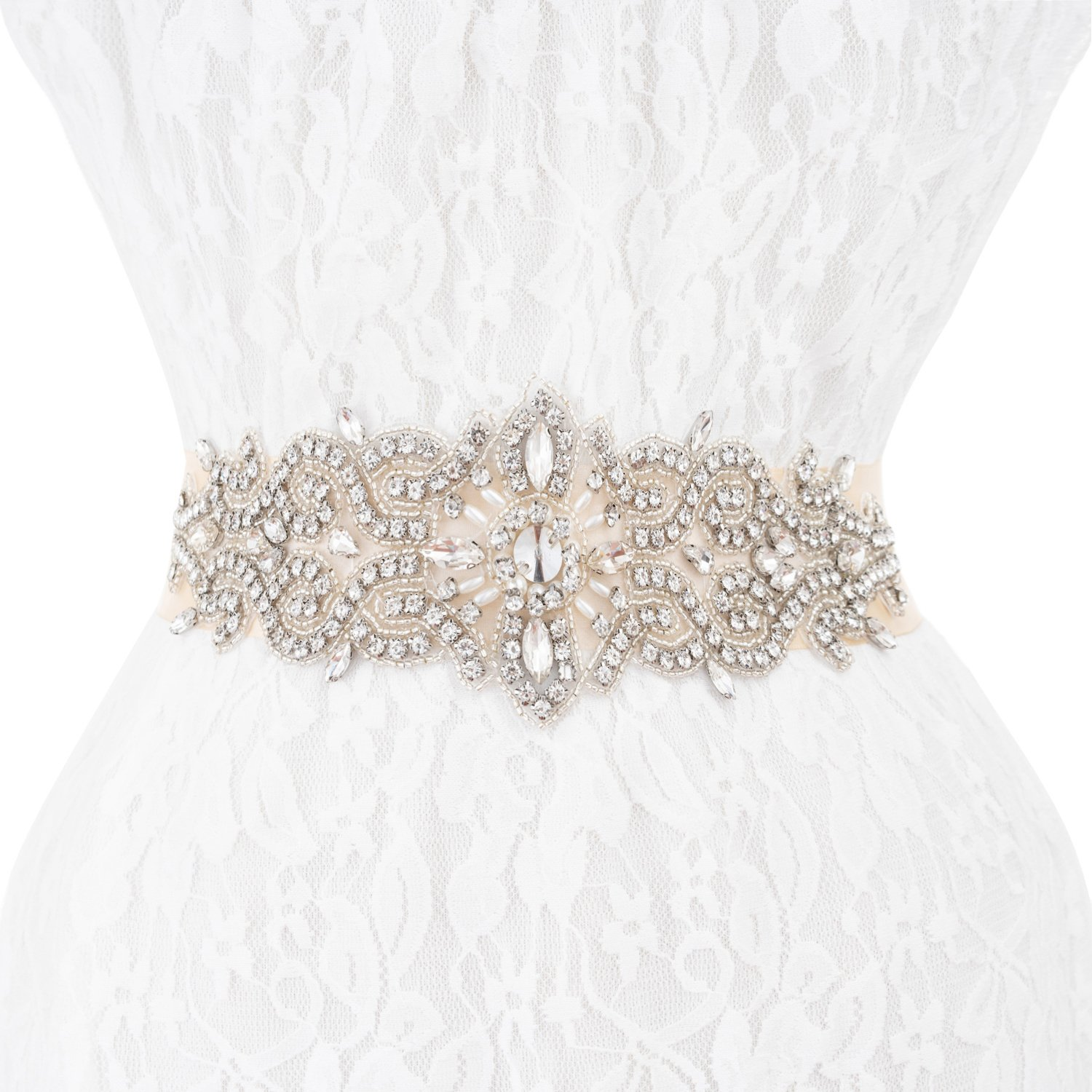 Bridal Wedding Dress Sash Belt Applique with Crystals Rhinestones for Prom Party