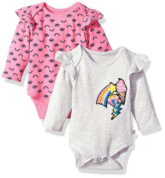 Rosie Pope Baby Girls  Pack Bodysuits Gray Emoji Pink