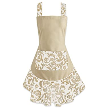 DII, Ruffle Kitchen Apron, Ladies Adjustable, 26x28.5 , Floral Taupe