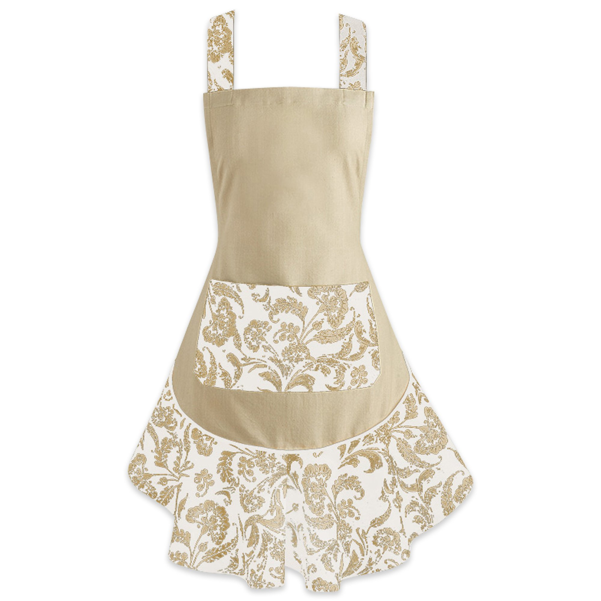 DII 100% Cotton, Fashion Floral Ruffle Ladies Women Apron, Kitchen Chef Apron, Adjustable Neck and Waist Ties, Front Pocket, Embroidery Area Available, Perfect for Gift, Cooking, Baking, Crafting- Taupe