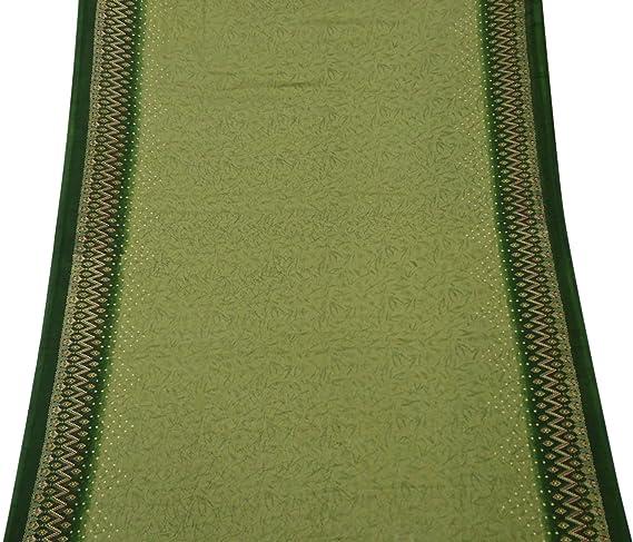 PEEGLI Mujer Indio Étnico Verde Vintage Vestido Seda Mezcla DIY Arte Paño Casual Vestir Sarong Envolver Sari Hoja Hermoso Saree: Amazon.es: Amazon.es