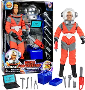 """Click N' Play 12"""" Astronaut Action Figure Space Exploration Playset with Accessories."""