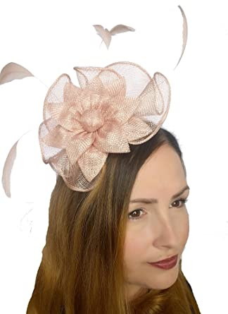 Martha Rose Boutique Pale Pink Sinamay Corsage   Ruffle Fascinator -  Occasion Wedding Races  Amazon.co.uk  Clothing ffe0cf37a24