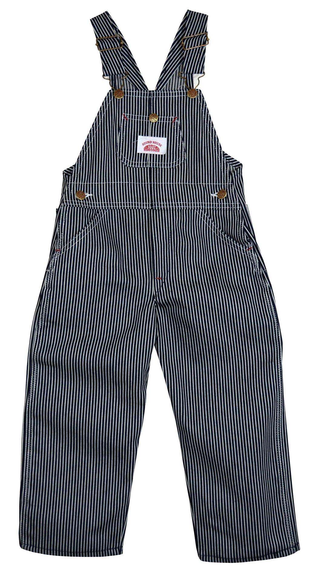 Round House Little Boys Stripe Bib Overall (Blue 5)