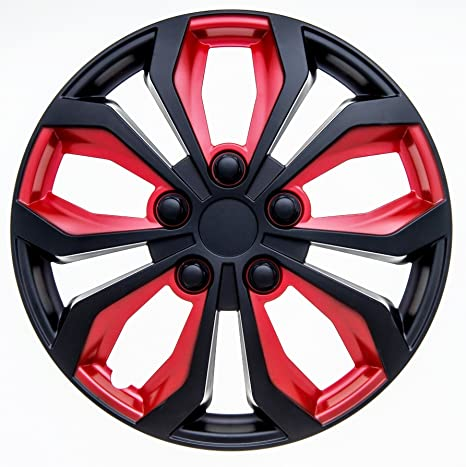 Amazon.com: SUMEX 506138B Original Set of 4 Hub caps SPA, red and Black, Beautiful Design, Easy Installation, Universal fit for 14