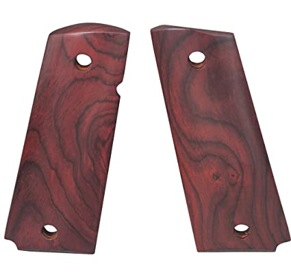 1911 Grips, Full Size Red Cocobolo Beveled Bottom Smooth, Ambi Cut