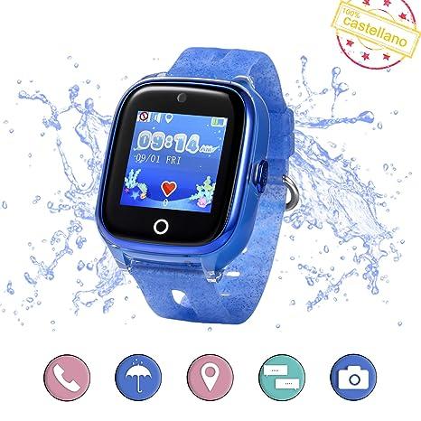 Smartwatch para niños con localizador GPS, Llamadas y cámara de Fotos. Reloj Inteligente acuático