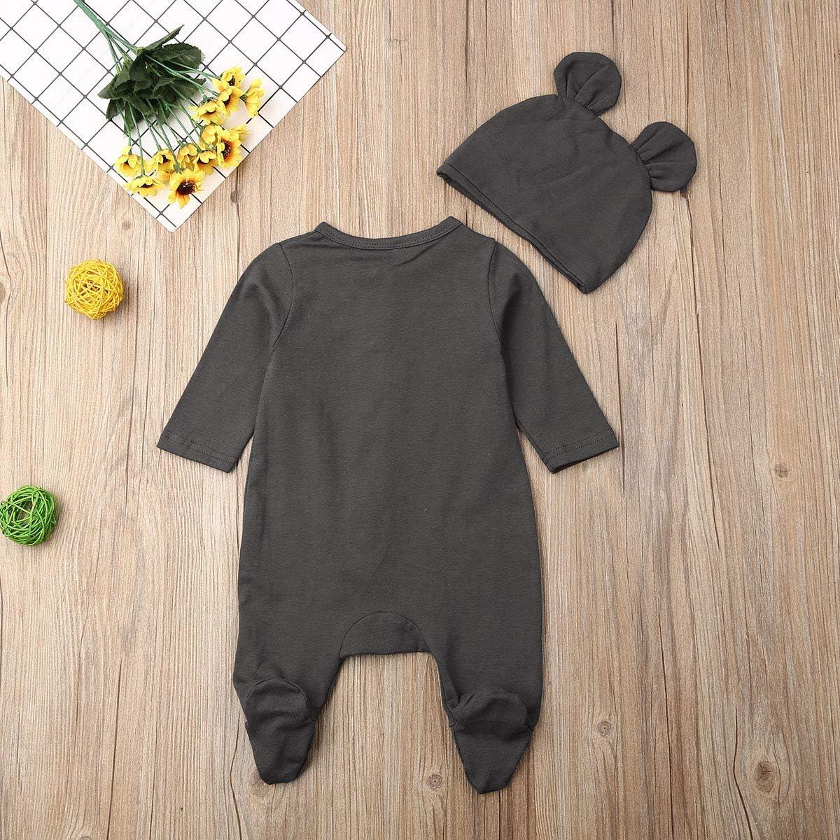 Kuriozud Newborn Baby Girl Boy Footie Romper Leaves Print One Piece Jumpsuit Sleeper with Headband Clothes