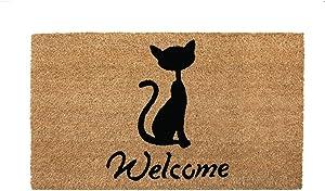 NIKKY HOME 16 x 28 Inches Welcome Cat Decorative Coir Door Mat Non Slip Front Doormat