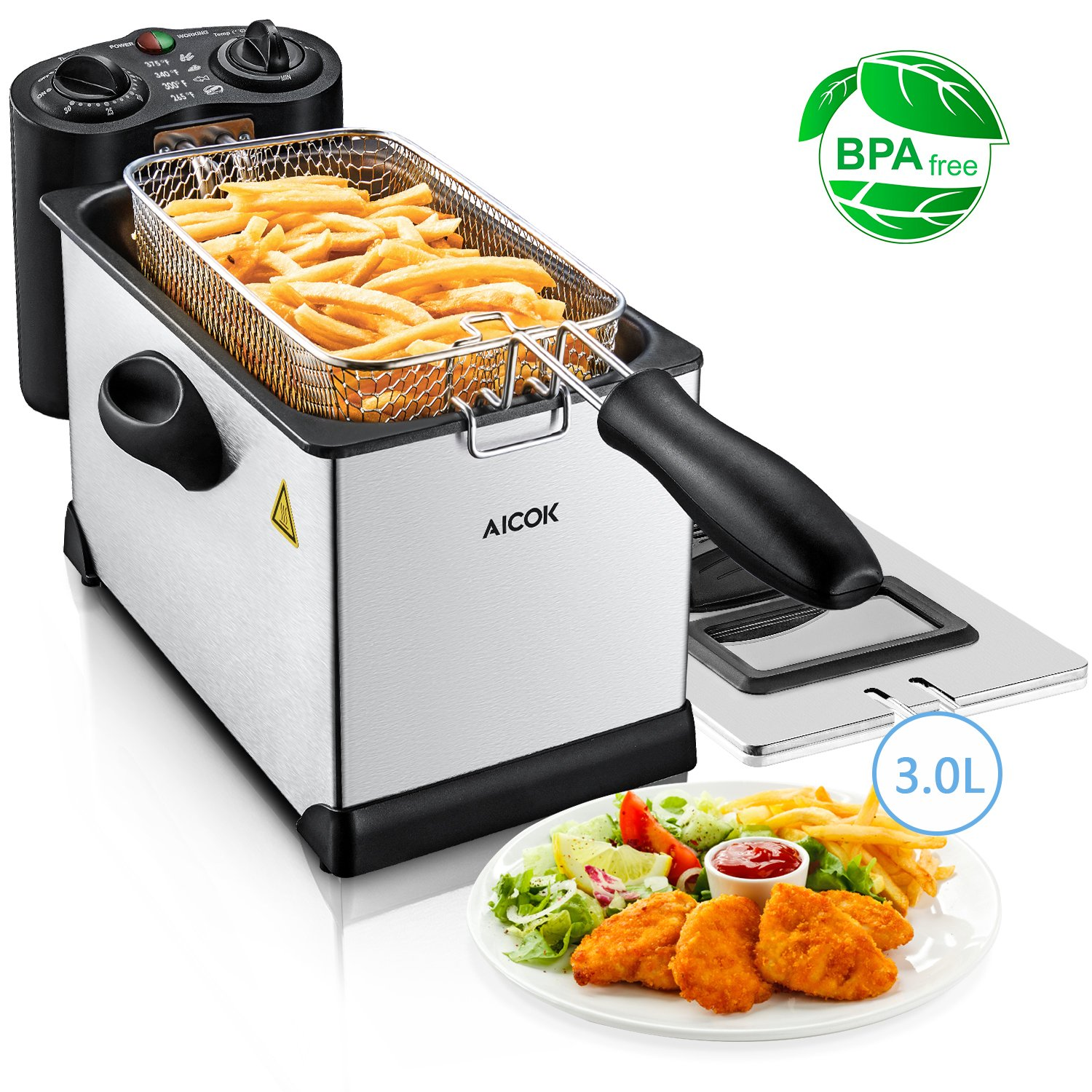 Deep Fryer with Basket, Aicok, Easy to Clean, Stainless Steel Electric Oil Deep Fryer Machine with Adjustable Temperature & Timer, Perfect for Fries, Chicken, Shrimp, Fully Removable, 3 Liter, 1700W