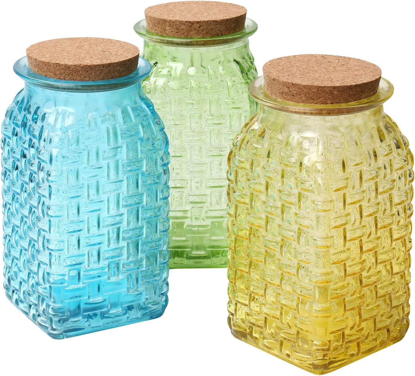 Art & Artifact 3-Piece Glass Basketweave Vase Set - Decorative Yellow, Green and Blue Jars with Cork Stopper Lids - Flower Holders, Storage Containers and Home Decor Accent