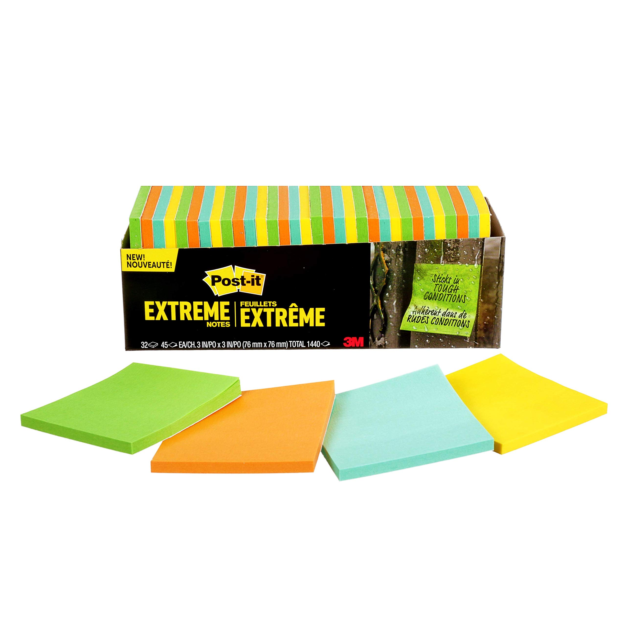 Post-it Extreme Water Resistant Sticky Notes, 3'' x 3'', 32 Pads, 45 Sheets/Pad Made with Dura-Hold Adhesive