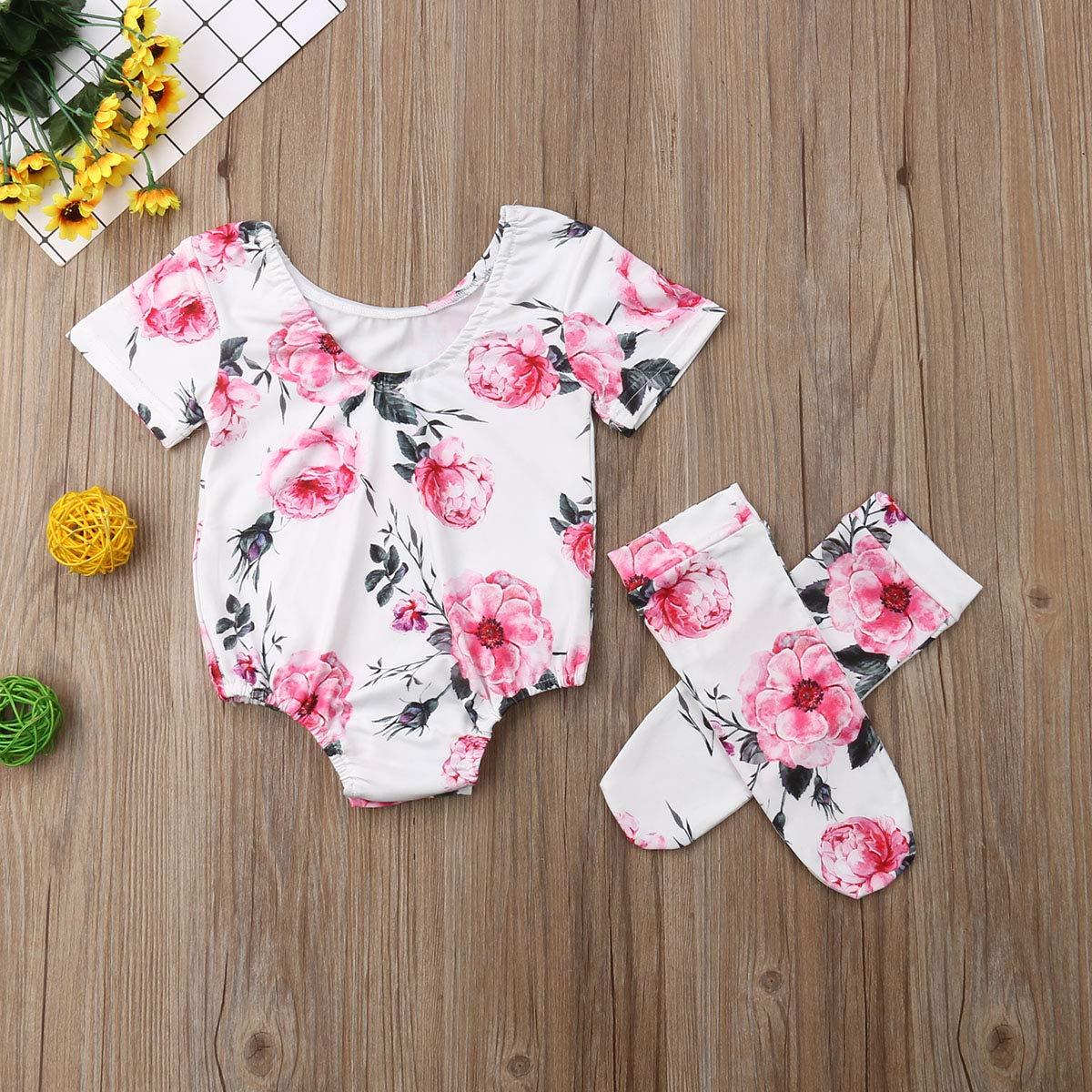 Shawnlen Neugeborenes Baby Overall Set Rundhals Langarm Rose Druck Romper Socken Outfits 0-18 Monate