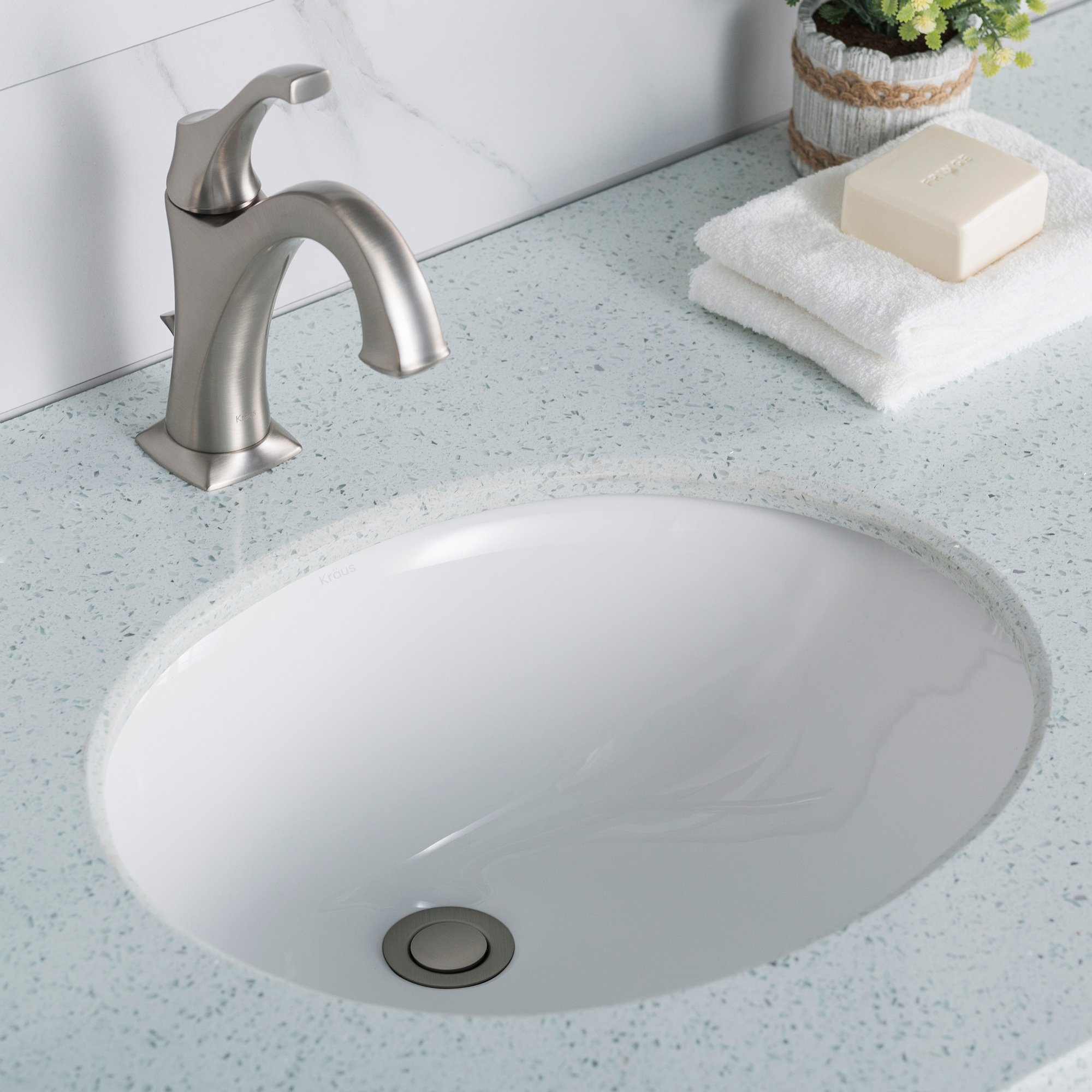KRAUS Elavo 17 Inch Oval Undermount Porcelain Ceramic Bathroom Sink in White with Overflow, KCU-211 by Kraus (Image #2)