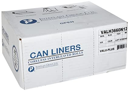 Inteplast Group High-Density Can Liner 40 x 48 45gal 12mic Black 25//Roll 10