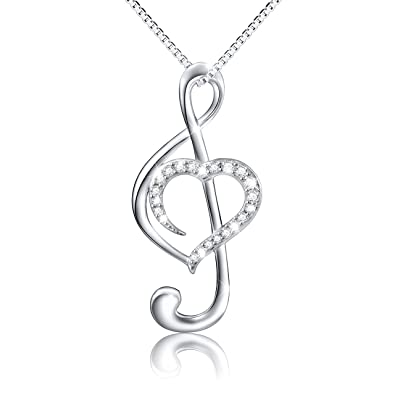 925 Sterling Silver Love Heart Treble Clef Music Note Necklace Pendant, Box Chain 18